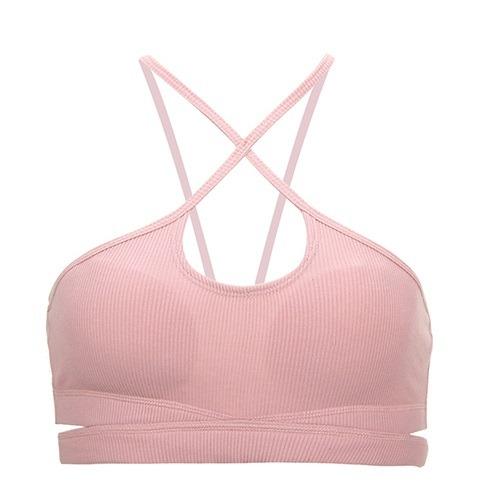 Chantel premium pink wireless sport bra crisscross front cut out